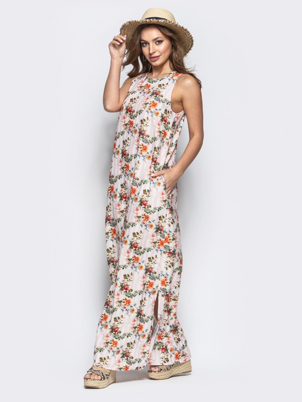 Хлопковое платье в пол с цветочным принтом бежевое - 21660, фото 1 – интернет-магазин Dressa