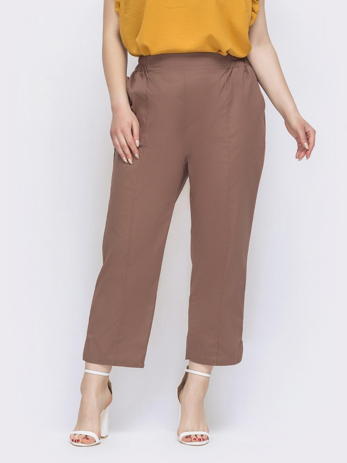 Хлопковые брюки большого размера бежевые 47751, фото 1