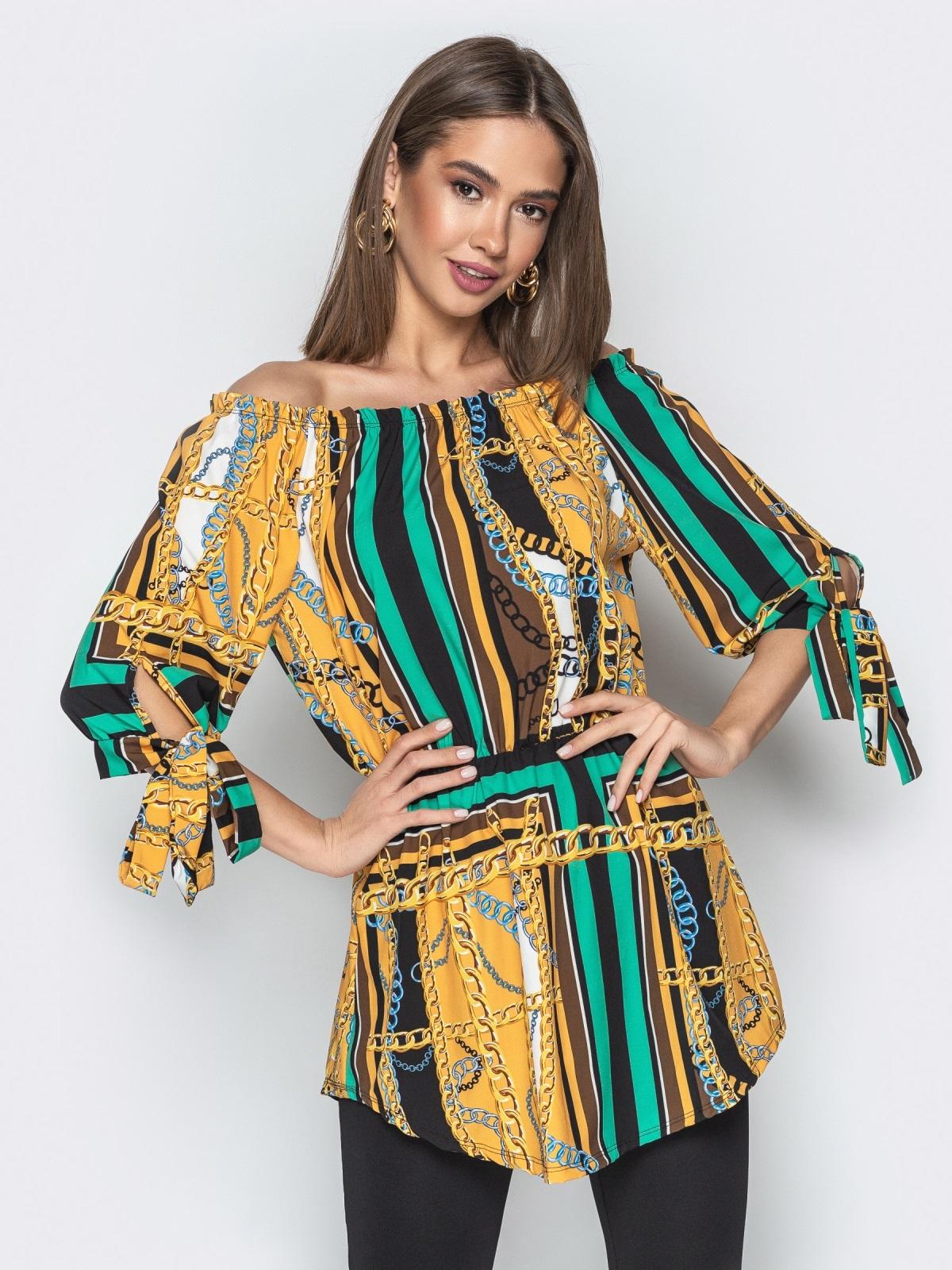 """Горчичная блузка с принтом и воротником """"анжелика"""" - 20545, фото 1 – интернет-магазин Dressa"""