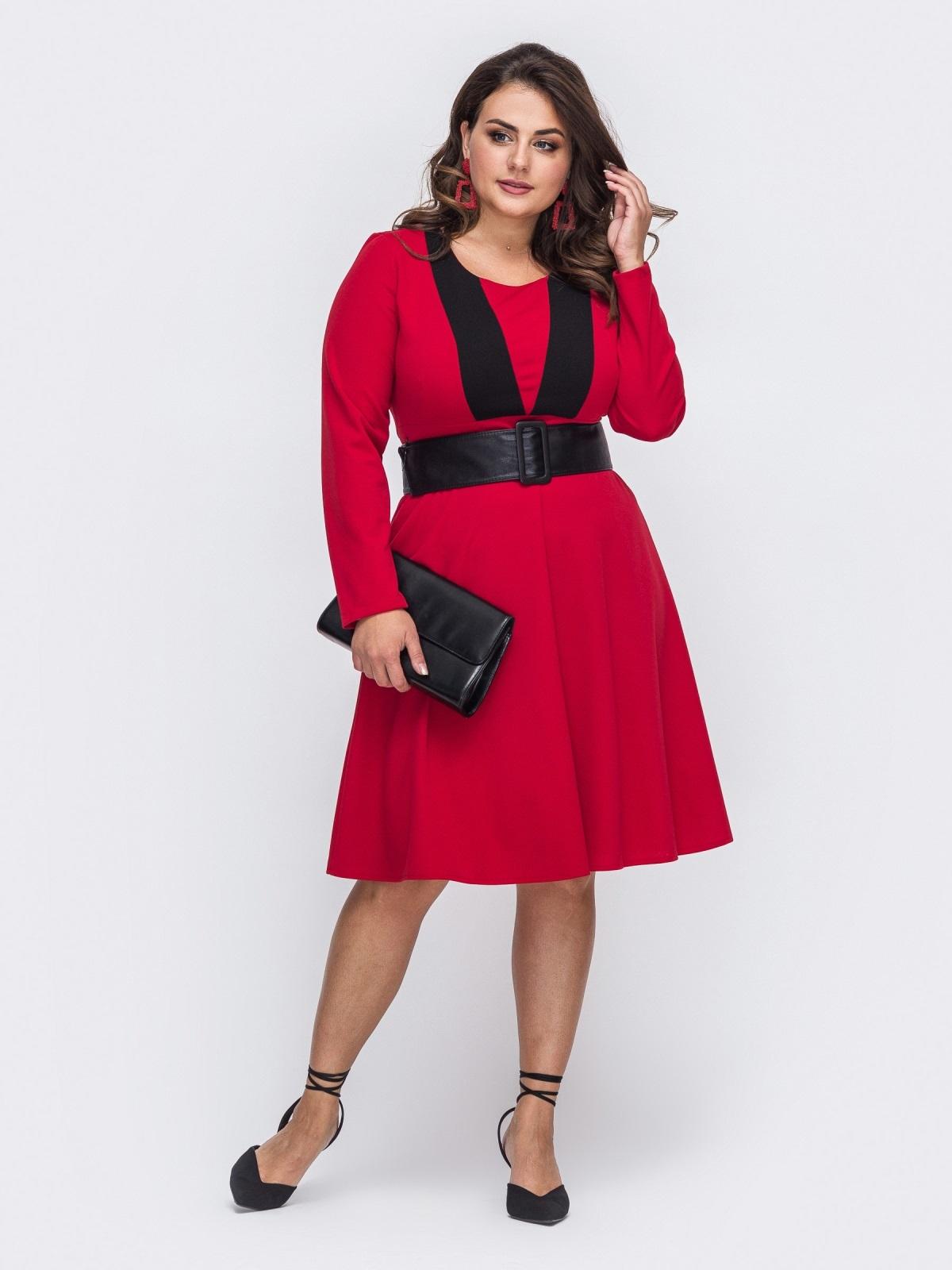 Красное платье батал с расклешенной юбкой 50873, фото 1