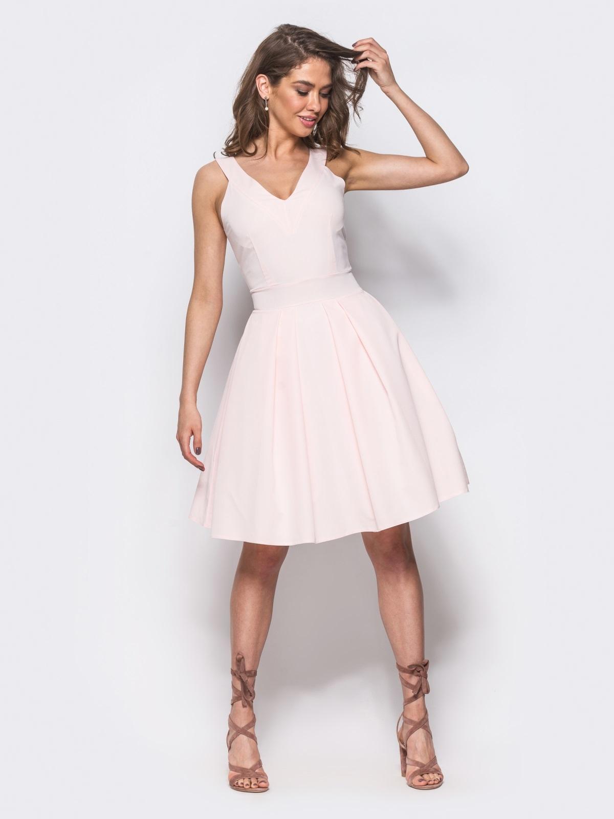 Платье на широких бретелях с подъюбником розовое - 11006, фото 1 – интернет-магазин Dressa
