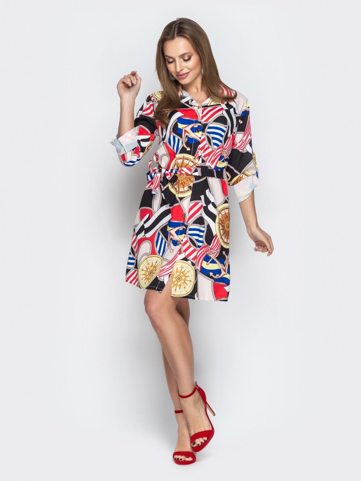 Принтованное платье-рубашка с рукавами на шлевках - 21348, фото 1 – интернет-магазин Dressa
