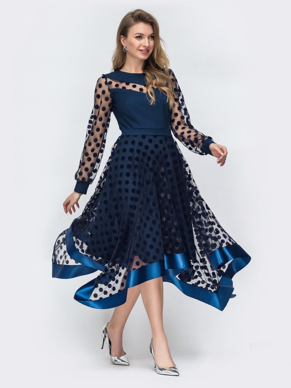 Тёмно-синее платье в горох с рукавами и юбкой из фатина 45848, фото 1