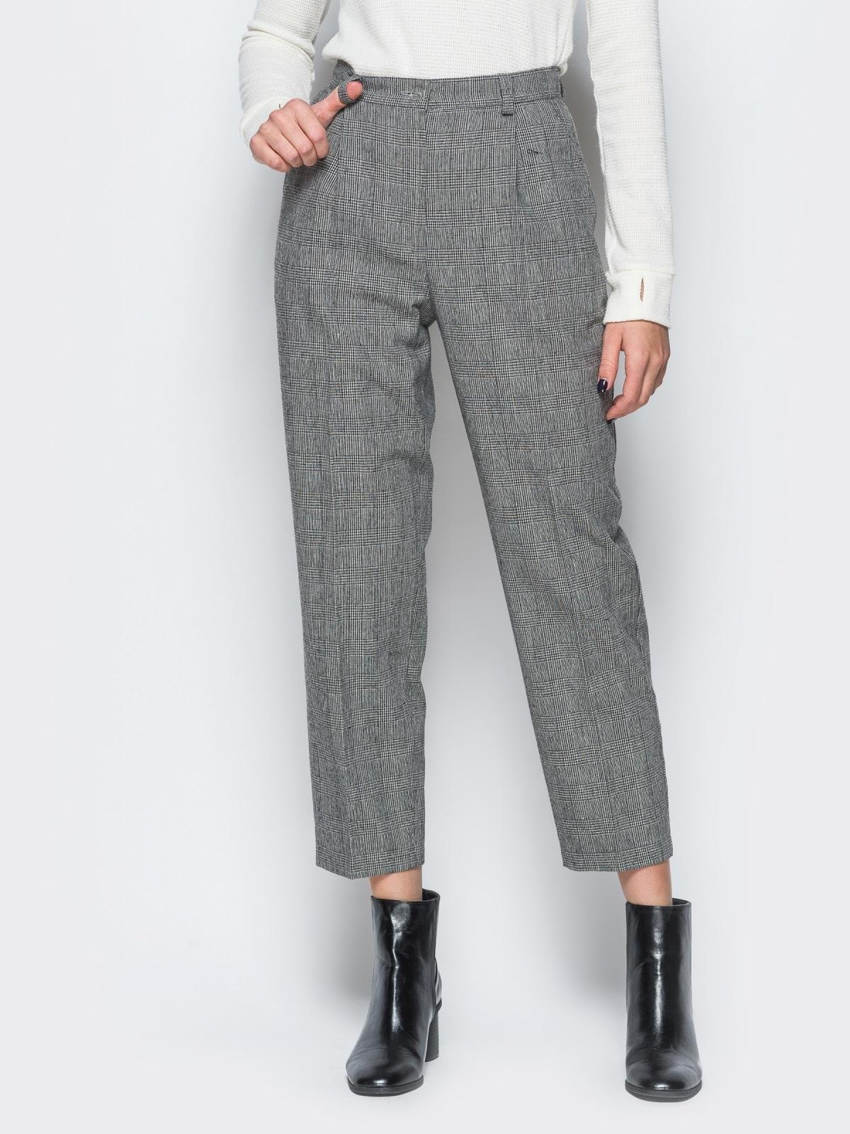 Укороченные брюки в серую клетку с высокой посадкой - 17665, фото 1 –  интернет- 098927c886c