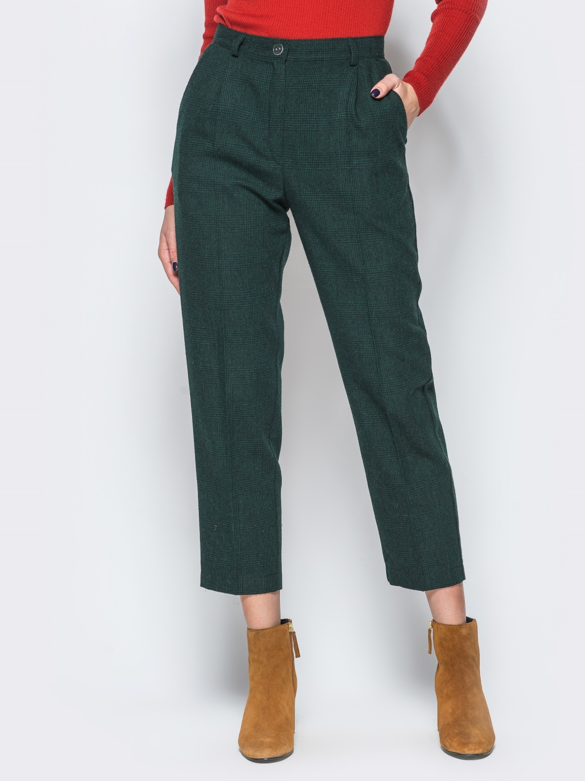 Укороченные зелёные брюки в черную клетку с высокой посадкой - 17666, фото 1 – интернет-магазин Dressa