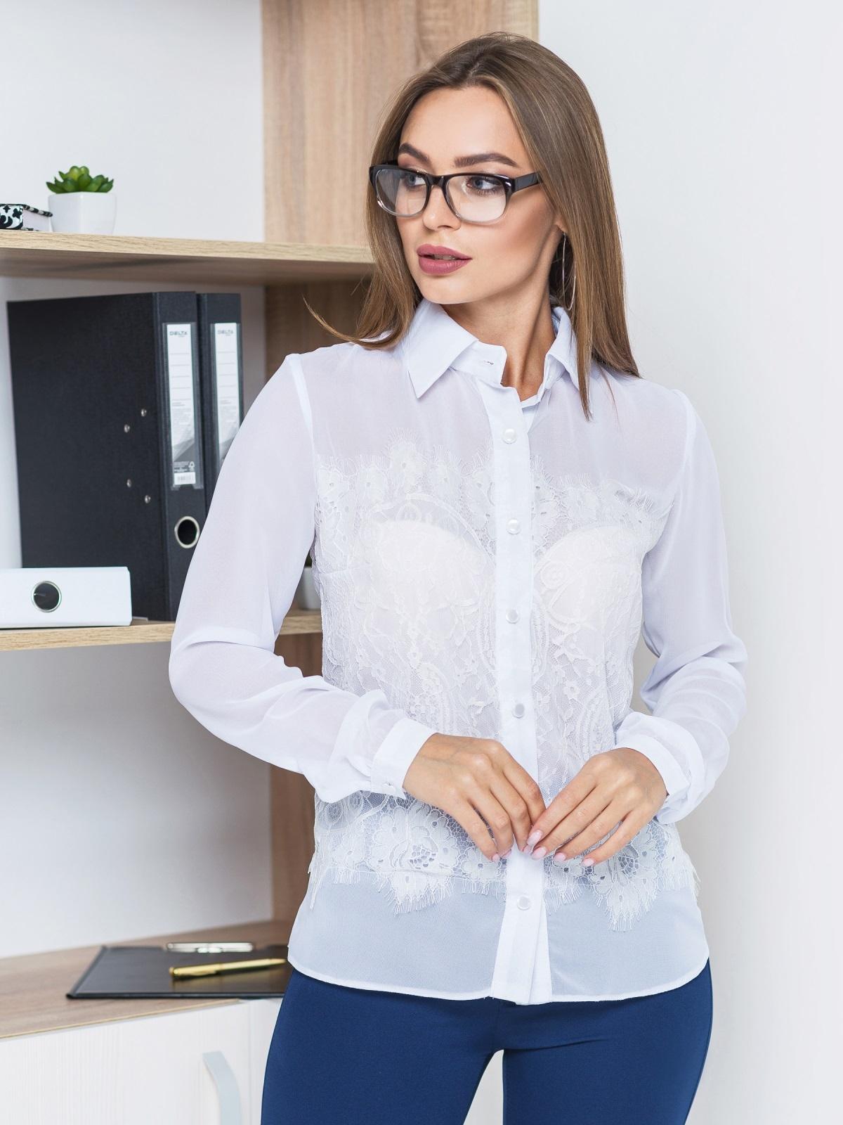 Классическая шифоновая блузка с французским кружевом белая - 14121, фото 3 – интернет-магазин Dressa