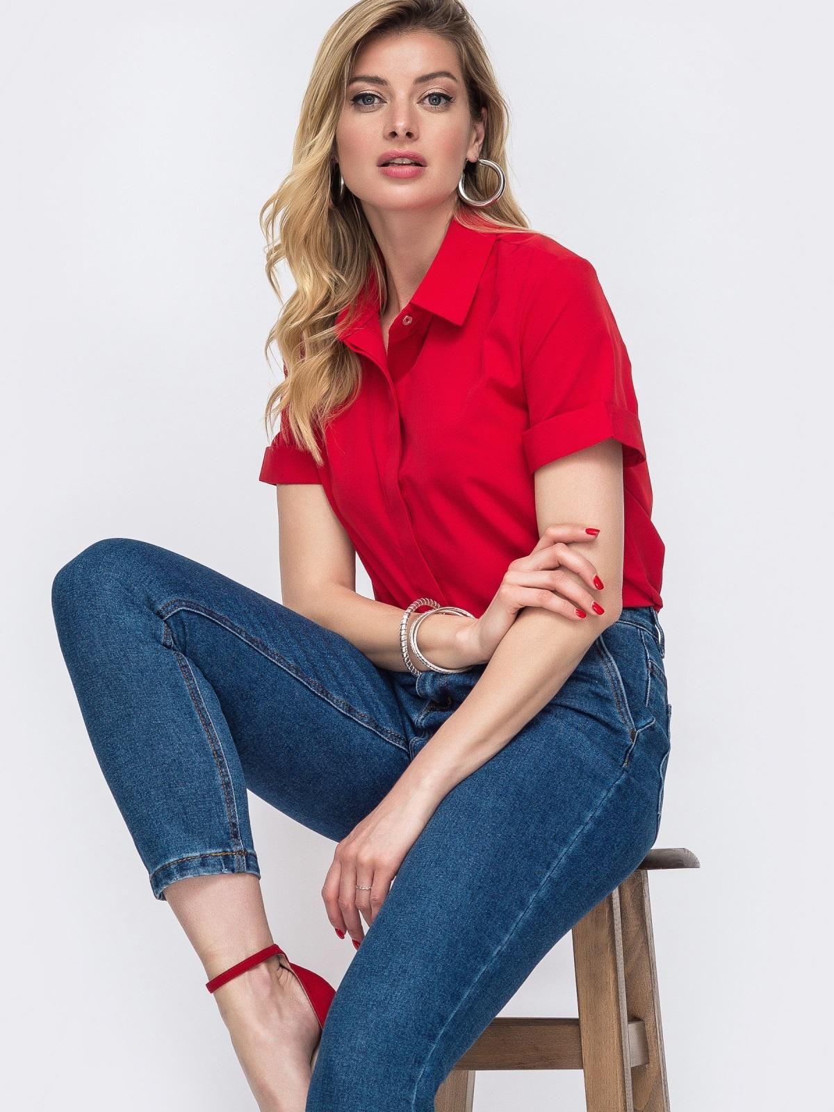 Красная рубашка с коротким рукавом и супатной застёжкой 48598, фото 1