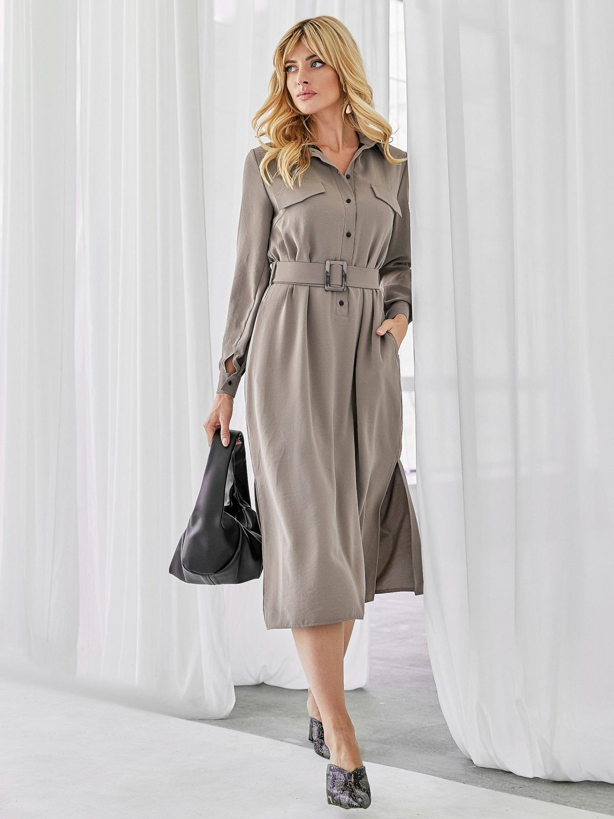 Платье-рубашка с разрезами по бокам бежевое 50064, фото 1