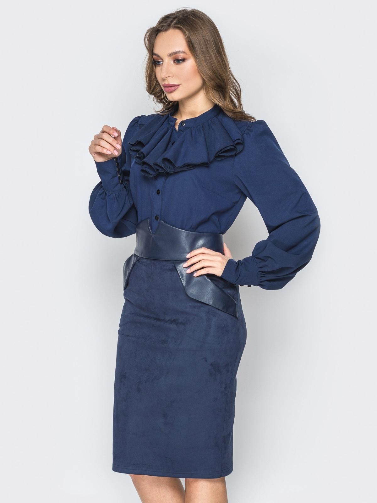 Синяя блузка на пуговицах с воротником-жабо - 20146, фото 1 – интернет-магазин Dressa