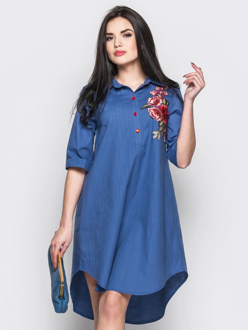 Короткое платье-рубашка с нагрудной вышивкой синее - 12520, фото 1 – интернет-магазин Dressa