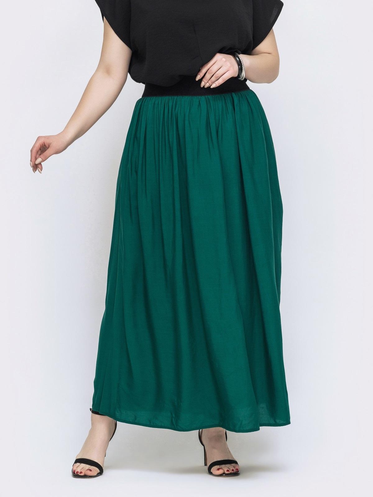 Расклешённая юбка-макси большого размера зеленая 46012, фото 1