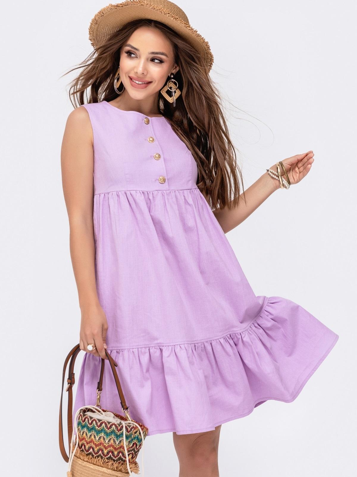 Расклешенное платье с завышенной талией фиолетового цвета 48494, фото 1