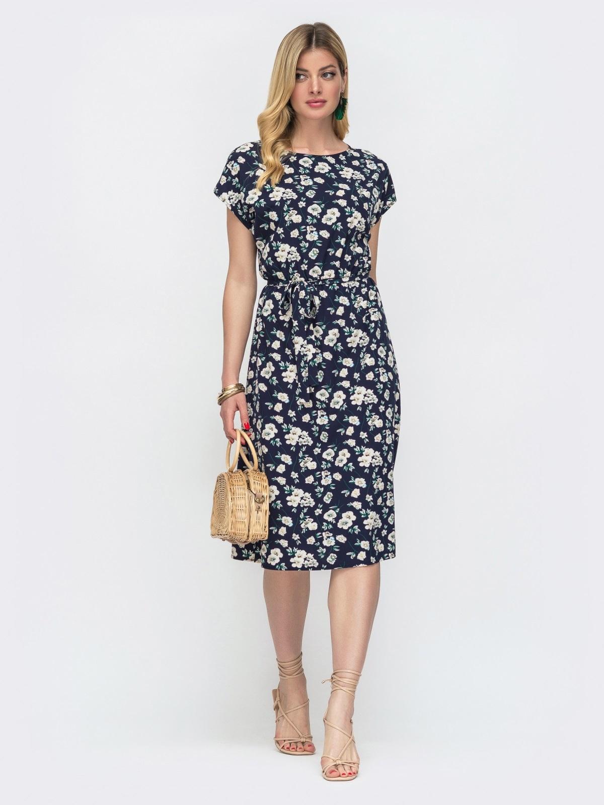 Тёмно-синее платье с принтом и резинкой в поясе 48482, фото 1