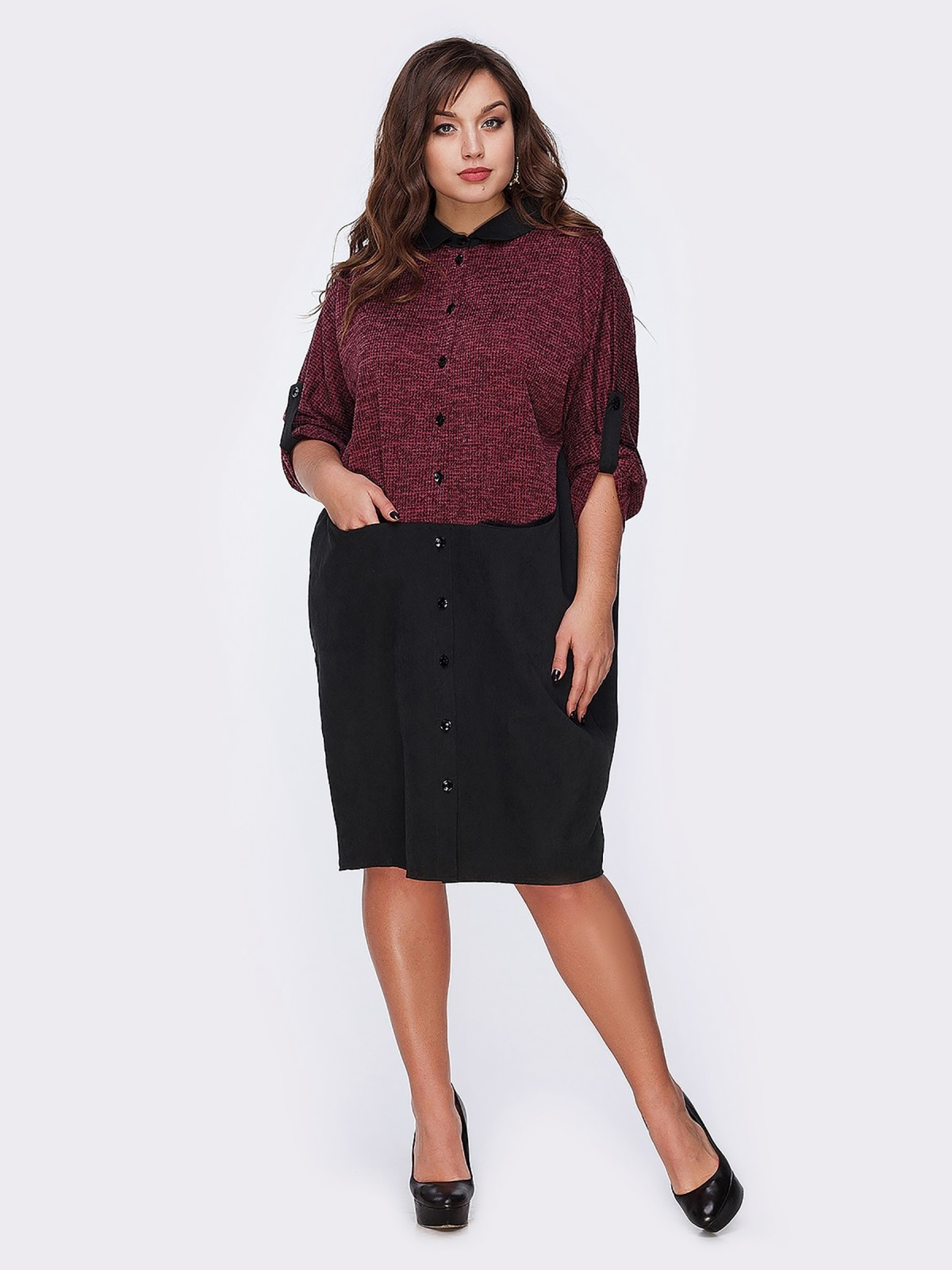 Бордовое платье-рубашка с контрастными вставками - 20590, фото 1 – интернет-магазин Dressa