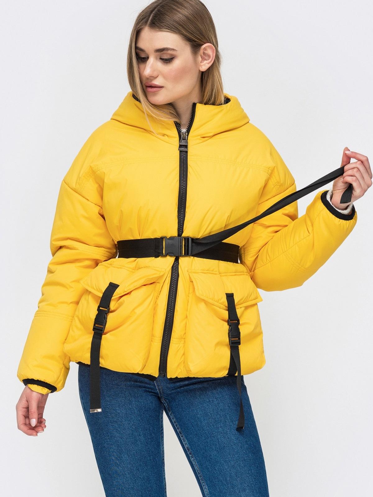 Желтая куртка с капюшоном и объемными карманами 45255, фото 1
