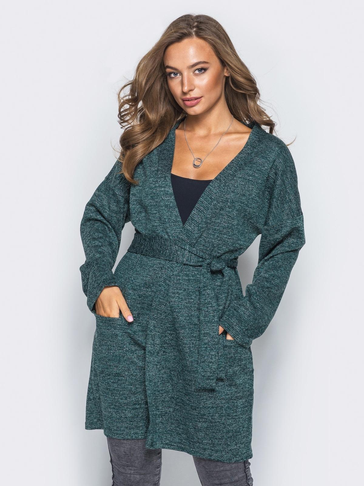 Кардиган с нитью люрекса и накладными карманами зелёный - 16333, фото 1 – интернет-магазин Dressa
