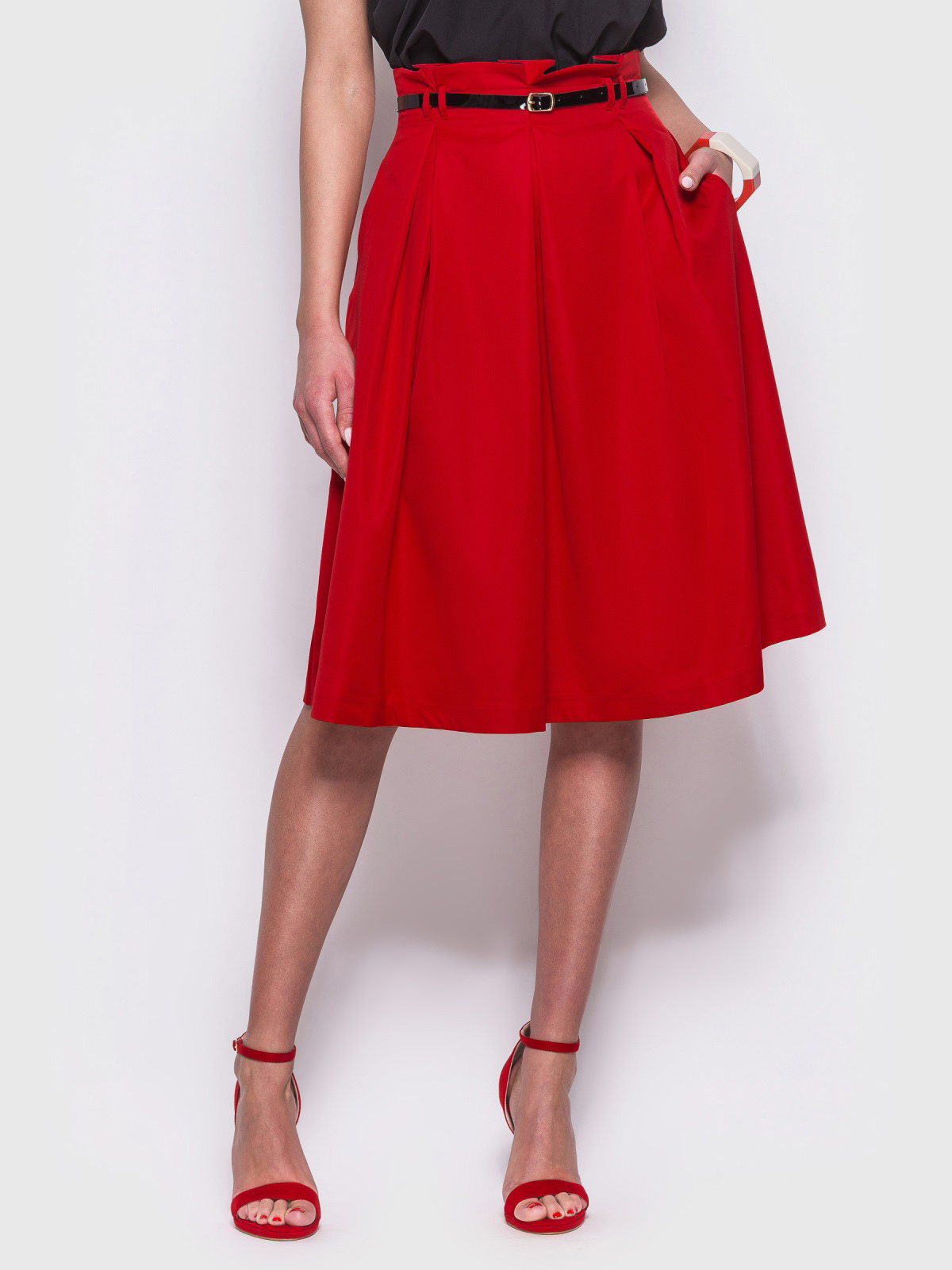 Красная расклешенная юбка с карманами по бокам - 38368, фото 1 – интернет-магазин Dressa