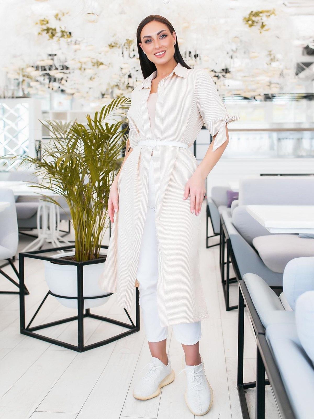 Платье-рубашка большого размра в узкую полоску бежевое - 48322, фото 1 – интернет-магазин Dressa