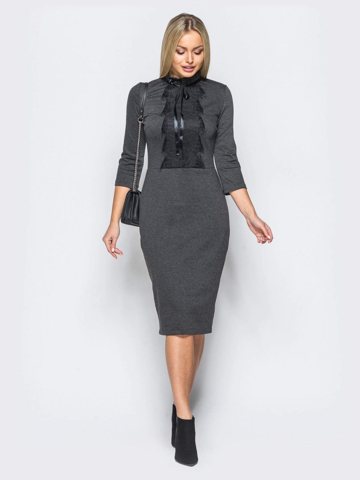 ddef8d98114 Трикотажное платье серого цвета с кружевом на полочке 17631 – купить ...