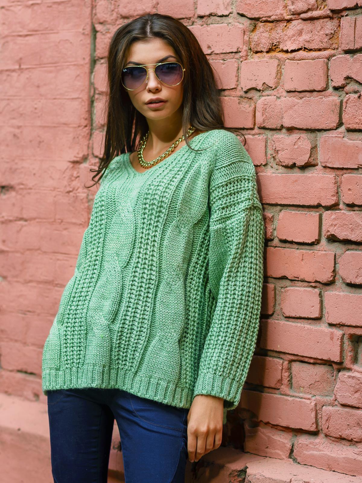 Вязаная туника со спущенным плечом зелёная - 13178, фото 1 – интернет-магазин Dressa