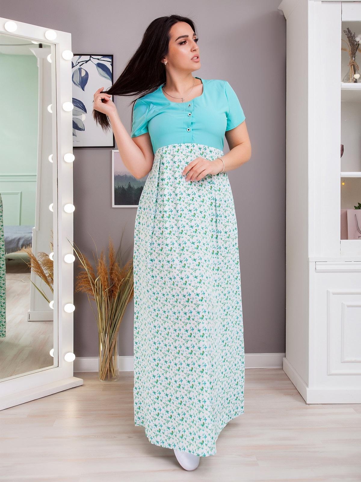 Длинное платье батал в полоску с завышенной линией талии бирюзовое 48380, фото 1
