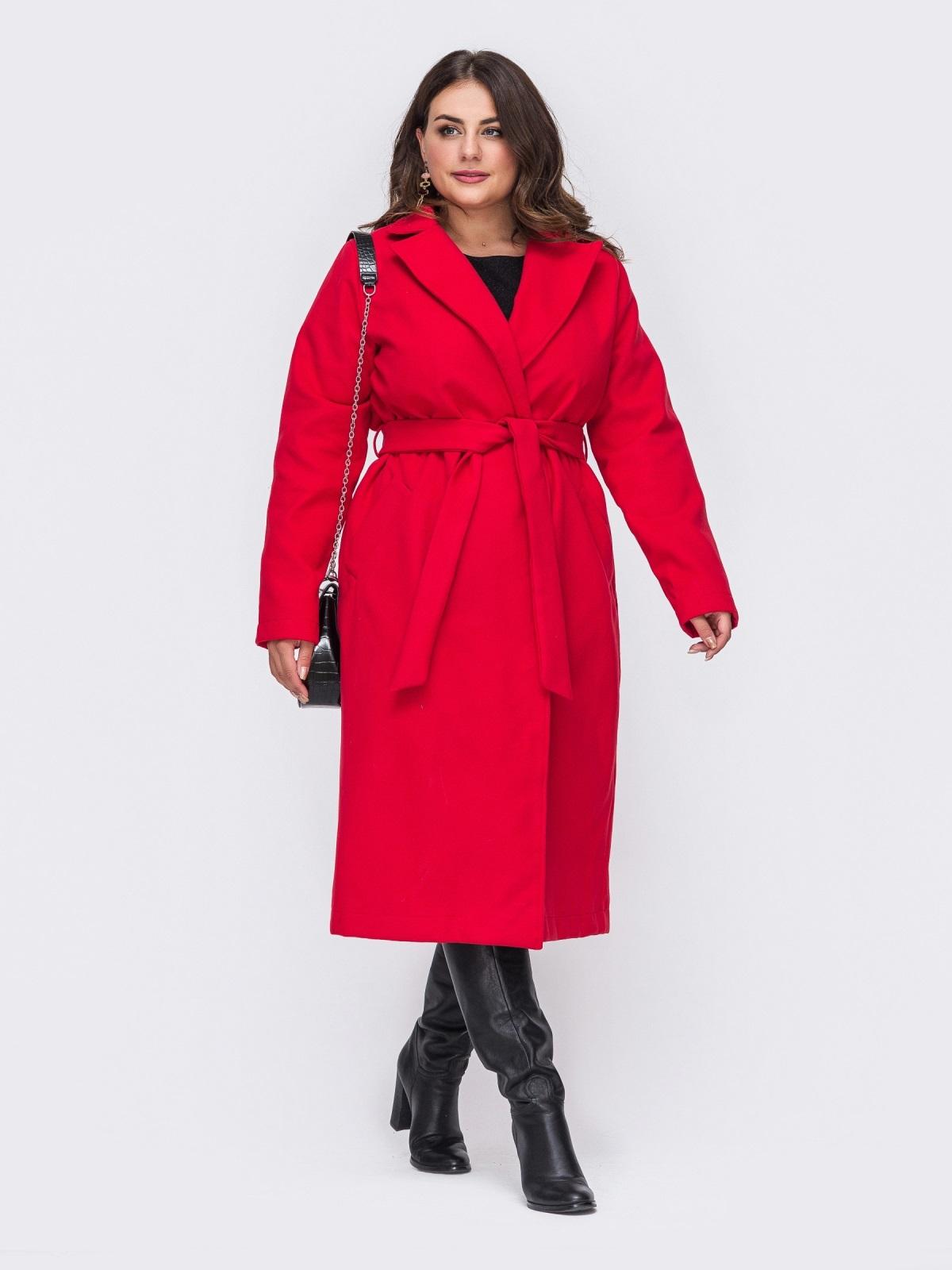 Красное пальто большого размера на запах 50880, фото 1