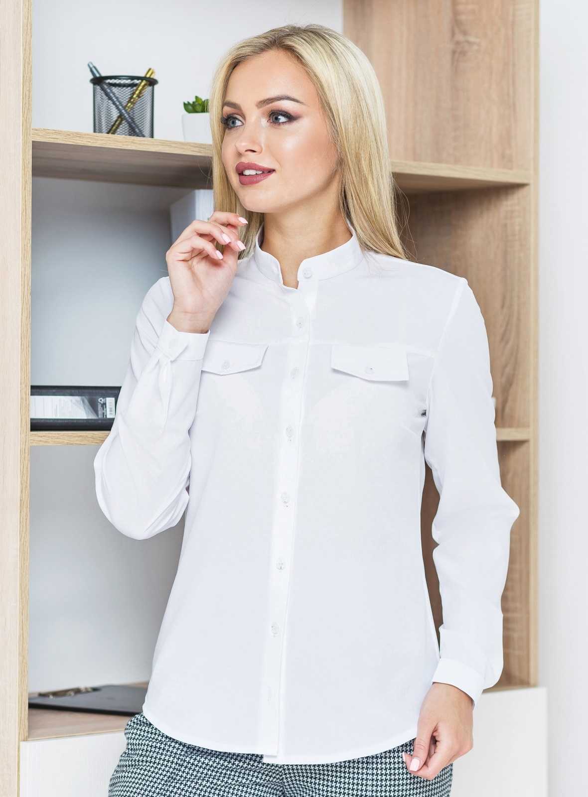 Рубашка с карманами-обманками белая - 14575, фото 3 – интернет-магазин Dressa