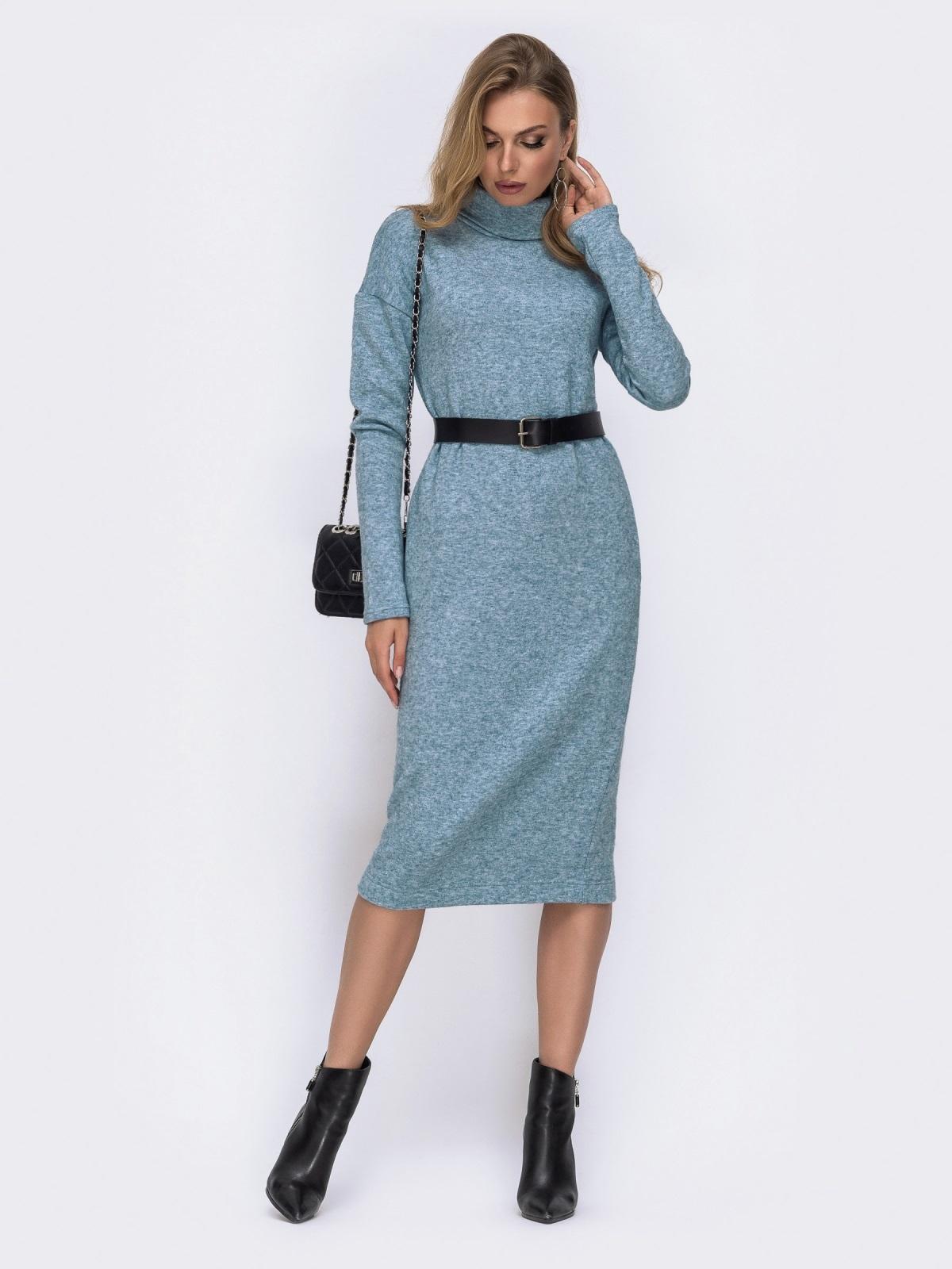 Голубое платье из ангоры со спущенными плечами 42392, фото 1