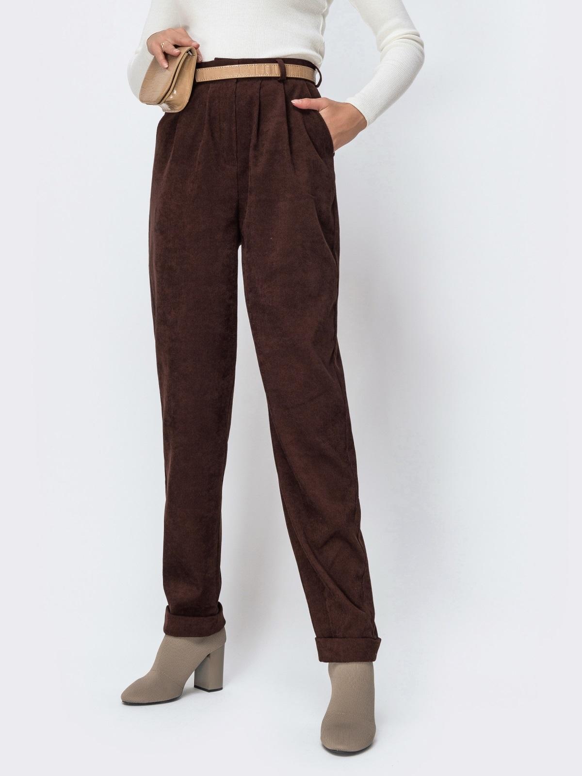 Широкие брюки из вельвета с завышенной талией коричневые - 42396, фото 1 – интернет-магазин Dressa