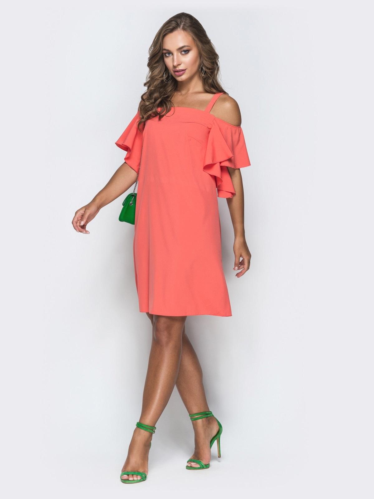 Свободное платье с открытыми плечами коралловое 38874, фото 1