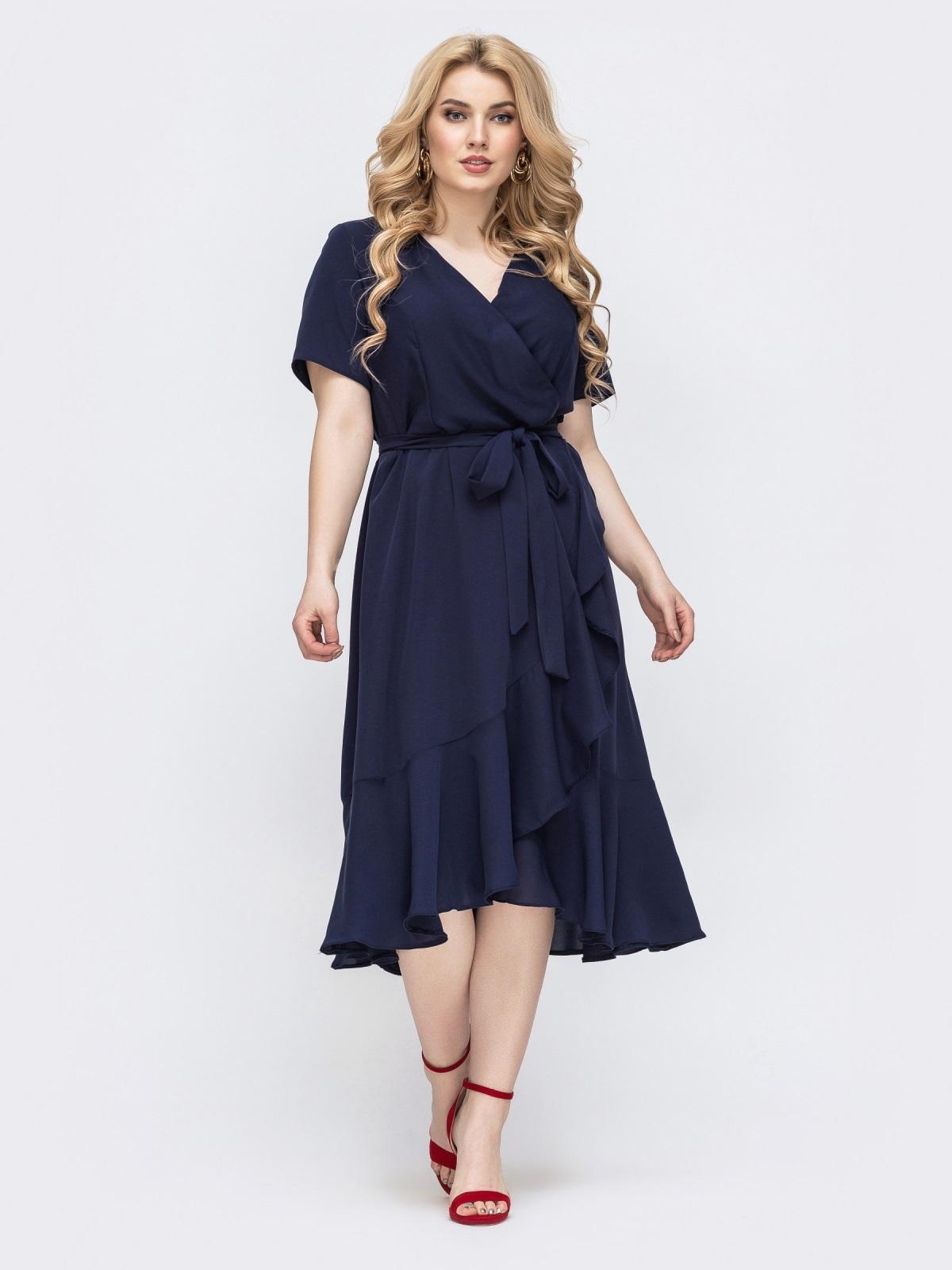 Тёмно-синее платье батал с воланом по низу 46368, фото 1