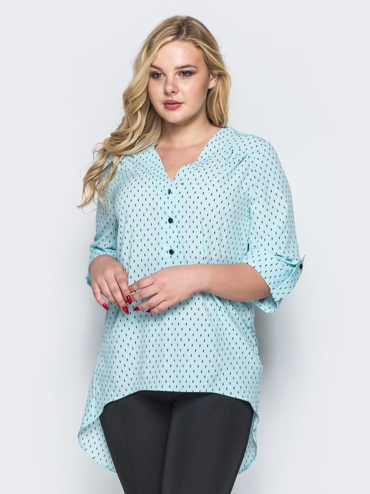 Блузка с удлиненной спинкой голубая - 16623, фото 1 – интернет-магазин Dressa