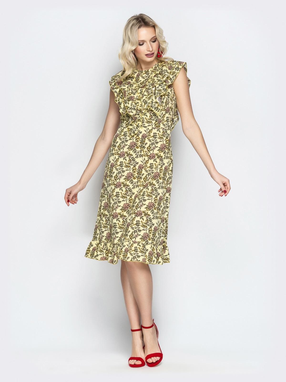 Платье с растительным принтом и воланами на кокетке хаки - 21344, фото 1 – интернет-магазин Dressa