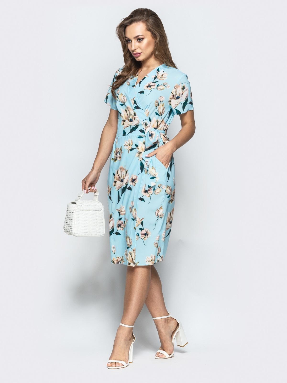 Принтованное платье с глубоким круглым вырезом голубое - 21498, фото 1 – интернет-магазин Dressa