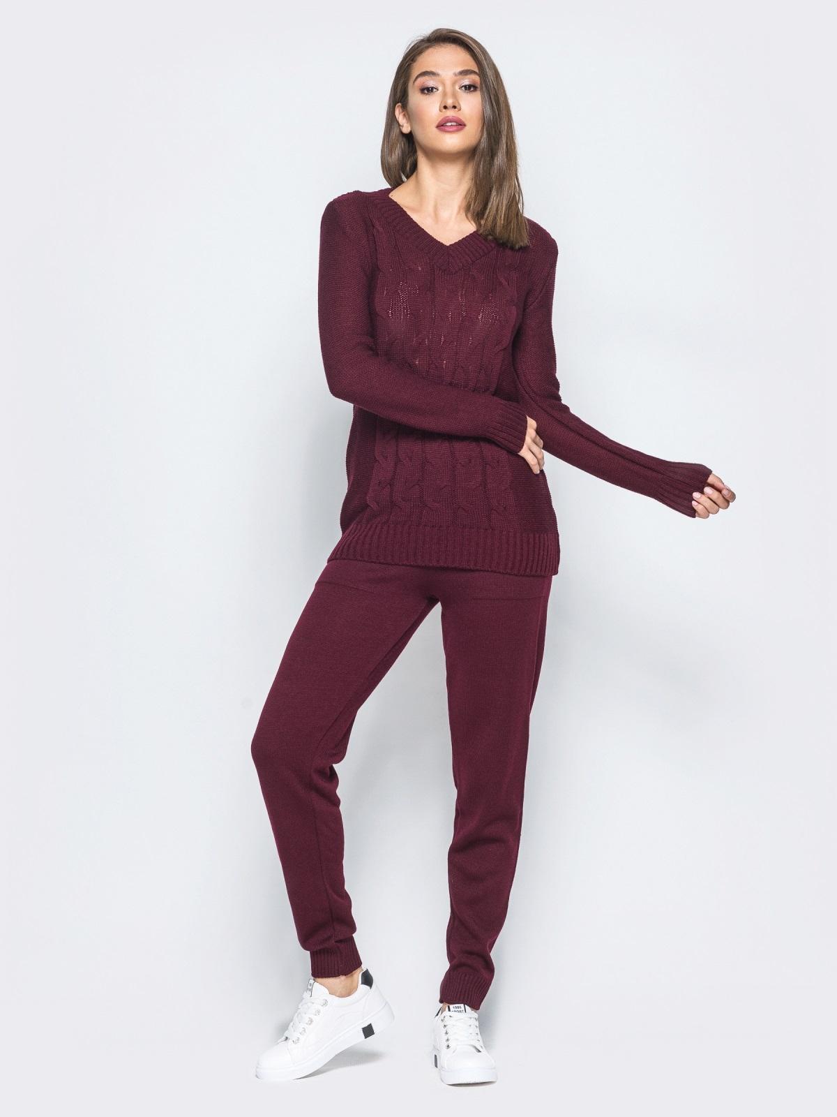 бордовый вязаный комплект с узором косы на свитере 16070 купить