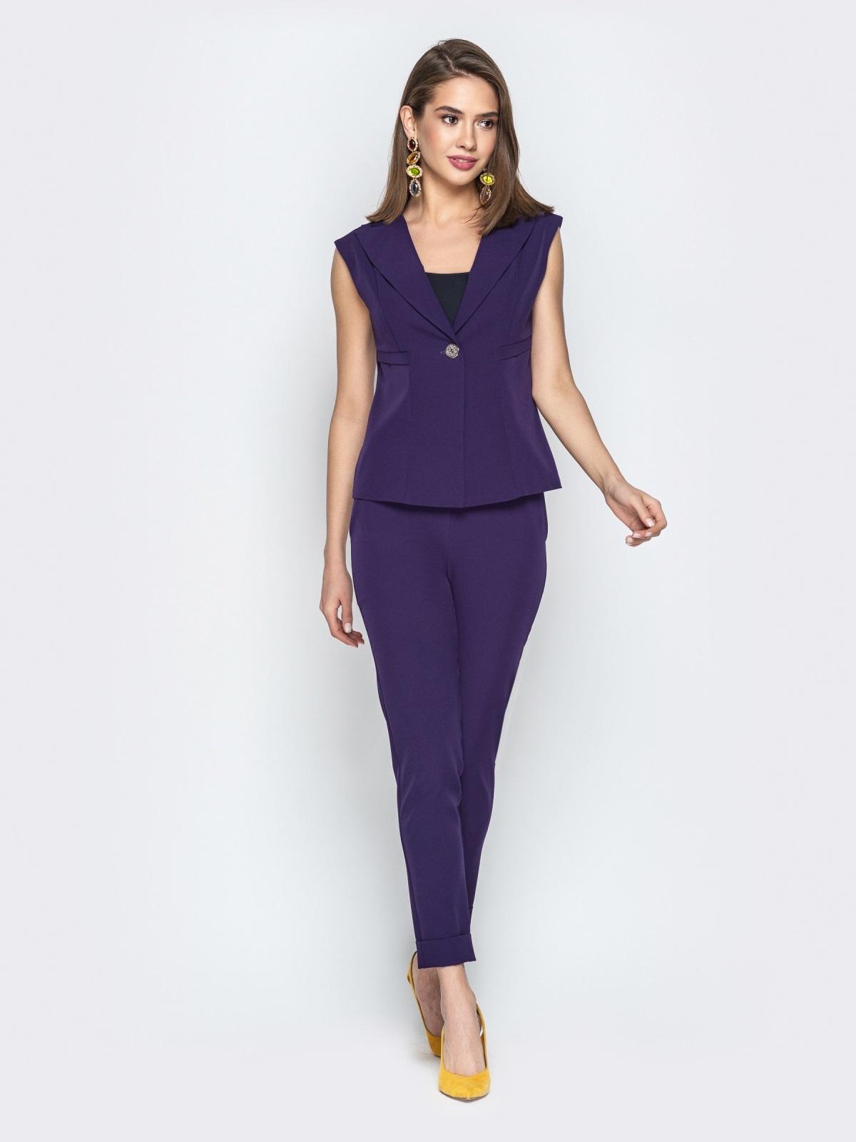 Брючный комплект фиолетового цвета с жакетом - 21106, фото 1 – интернет-магазин Dressa