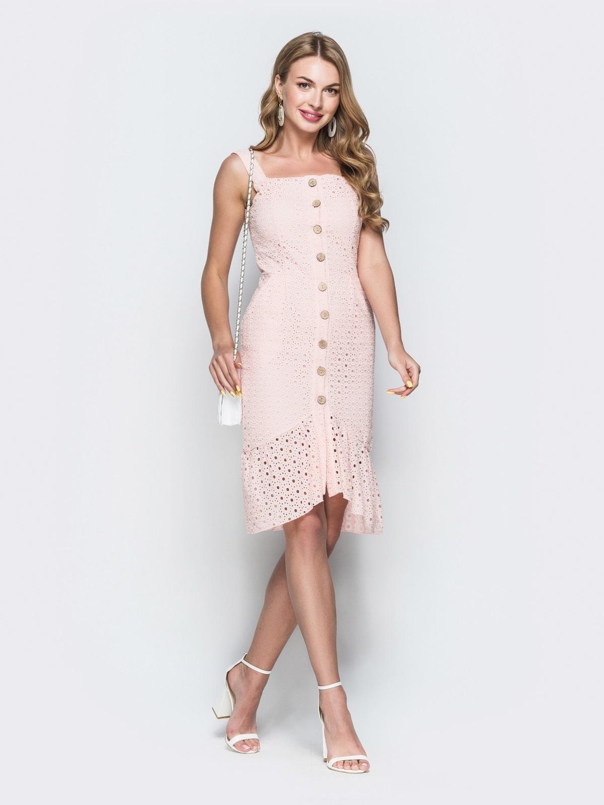 Персиковое платье из прошвы с удлиненной спинкой 38703, фото 1