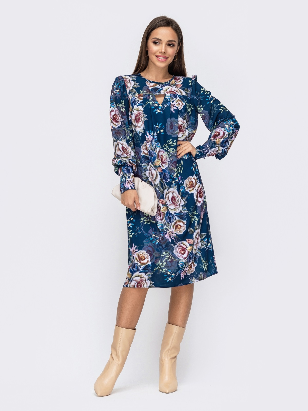 Платье из креп-шифона с принтом и фигурным вырезом синее 51184, фото 1