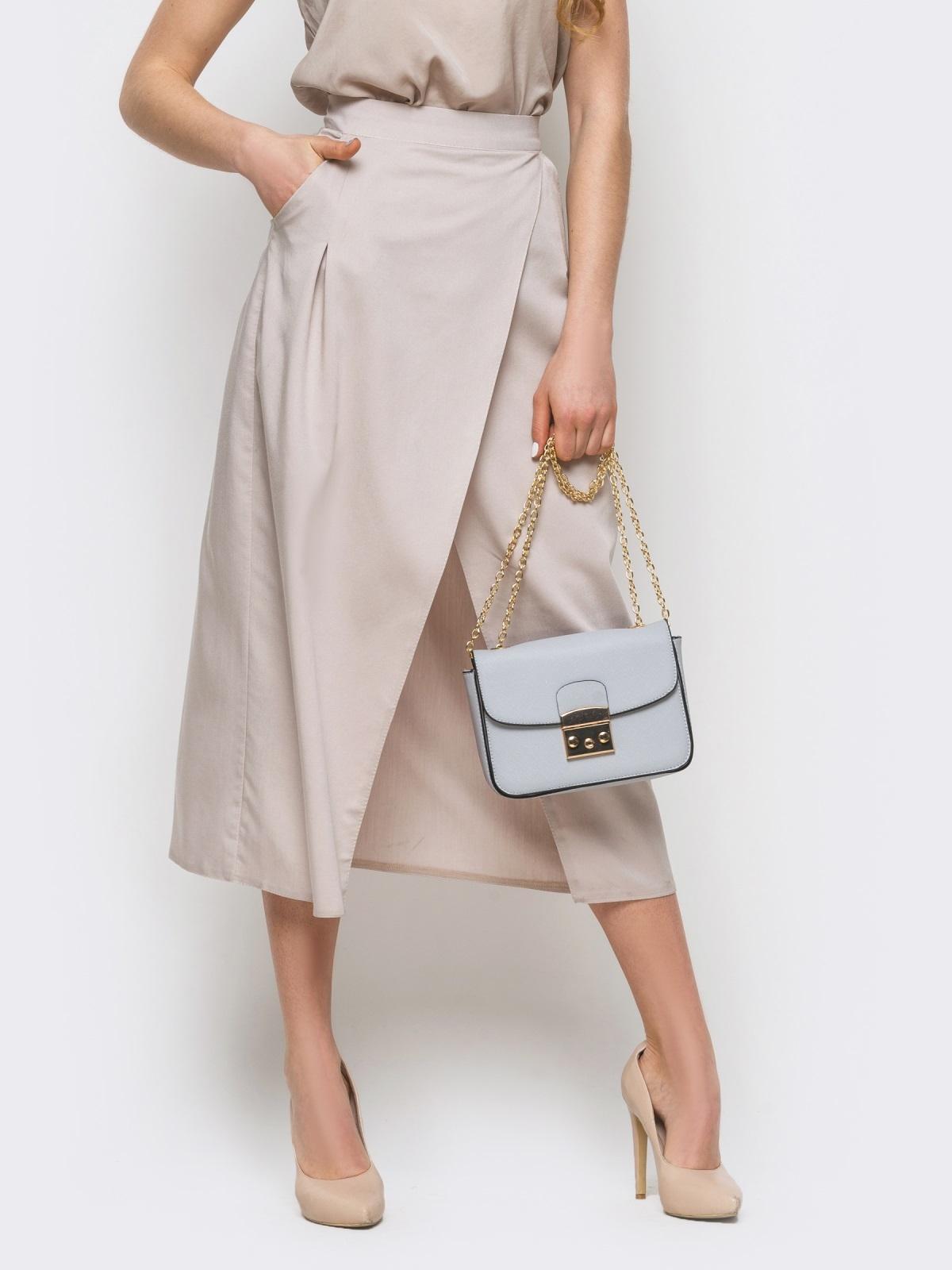 Серая юбка-миди на запах из костюмной ткани - 12892, фото 1 – интернет-магазин Dressa