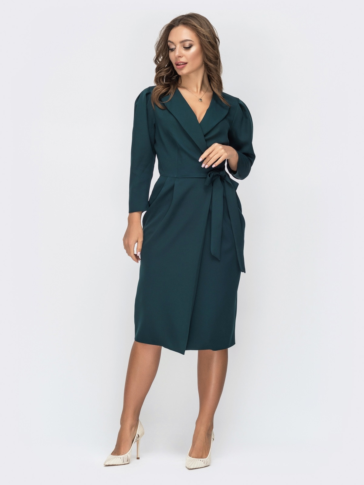 Зеленое платье на запах с лацканами 44821, фото 1