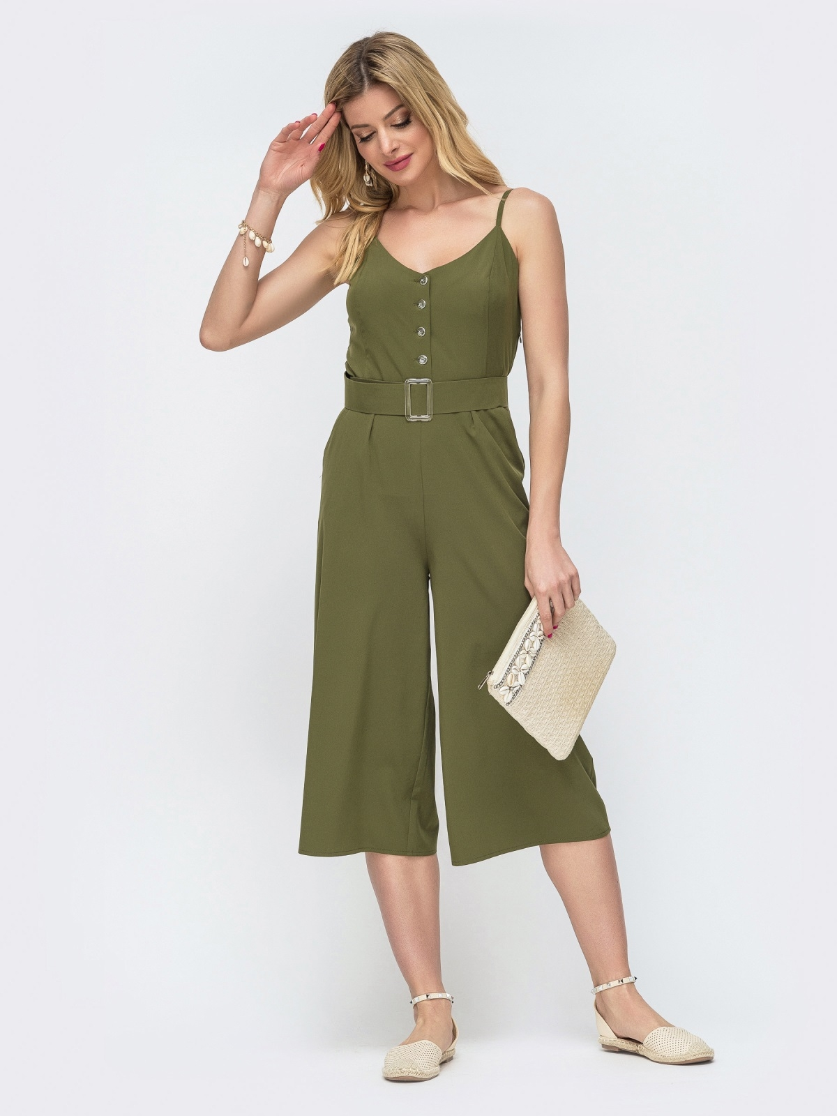 Комбинезон цвета хаки на бретелях с брюками-кюлотами 46610, фото 1