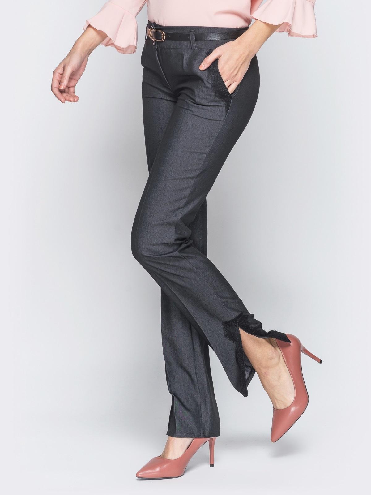 Серые брюки с отделкой из черного кружева 18863, фото 1
