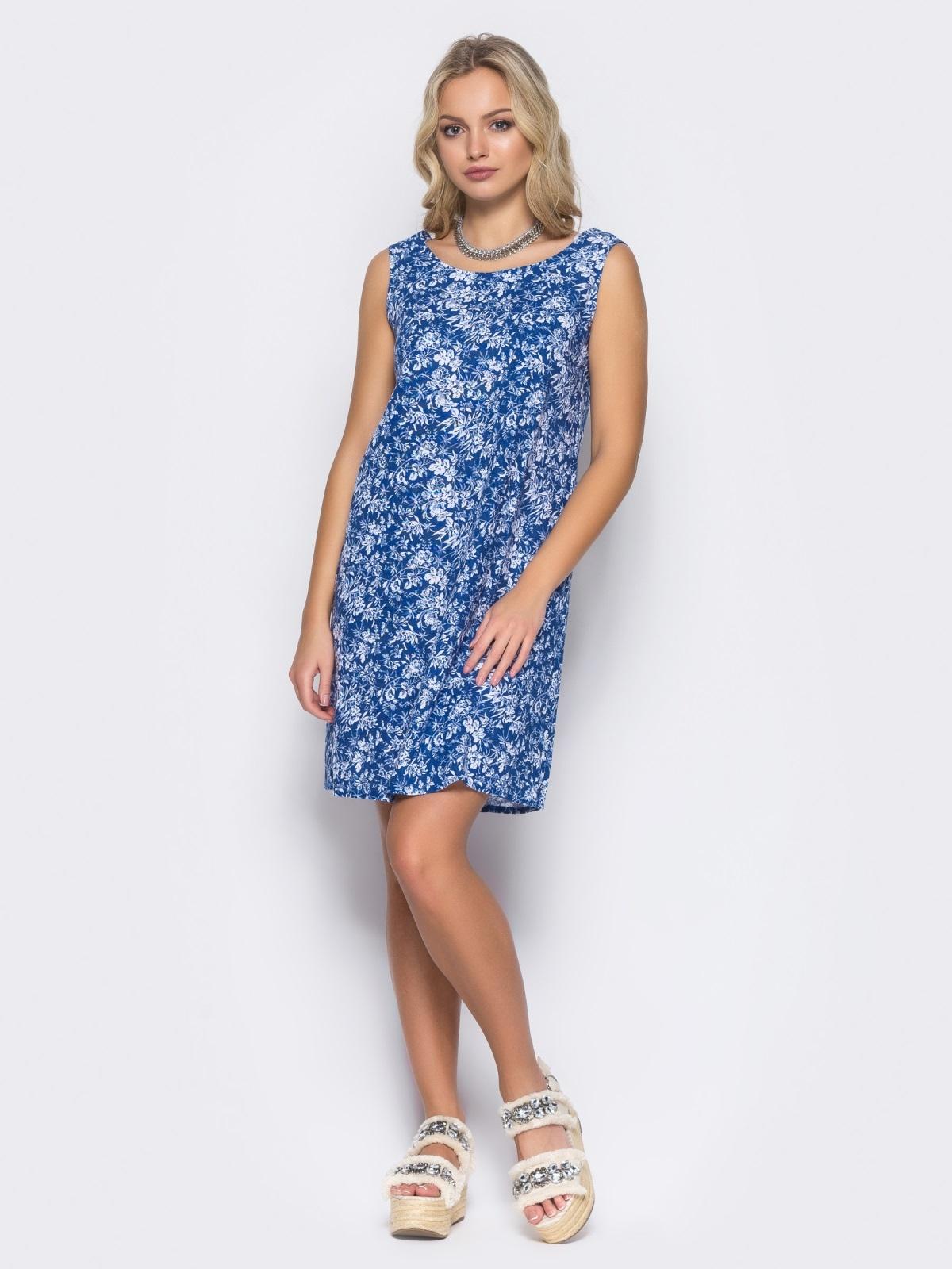 Синее льняное платье с вырезом по спинке - 11680, фото 1 – интернет-магазин Dressa