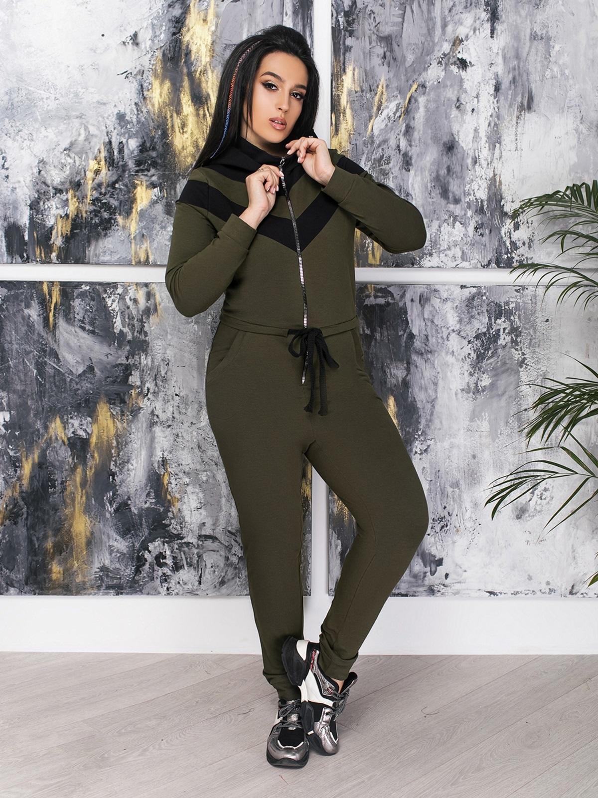 Комбинезон большого размера с брюками хаки - 47370, фото 1 – интернет-магазин Dressa