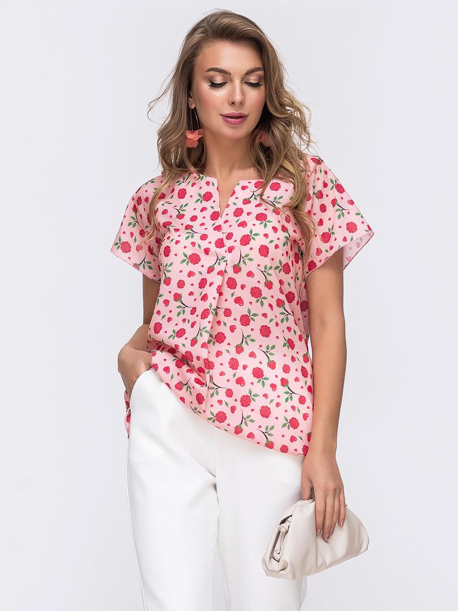 Пудровая блузка свободного кроя с принтом 50074, фото 1