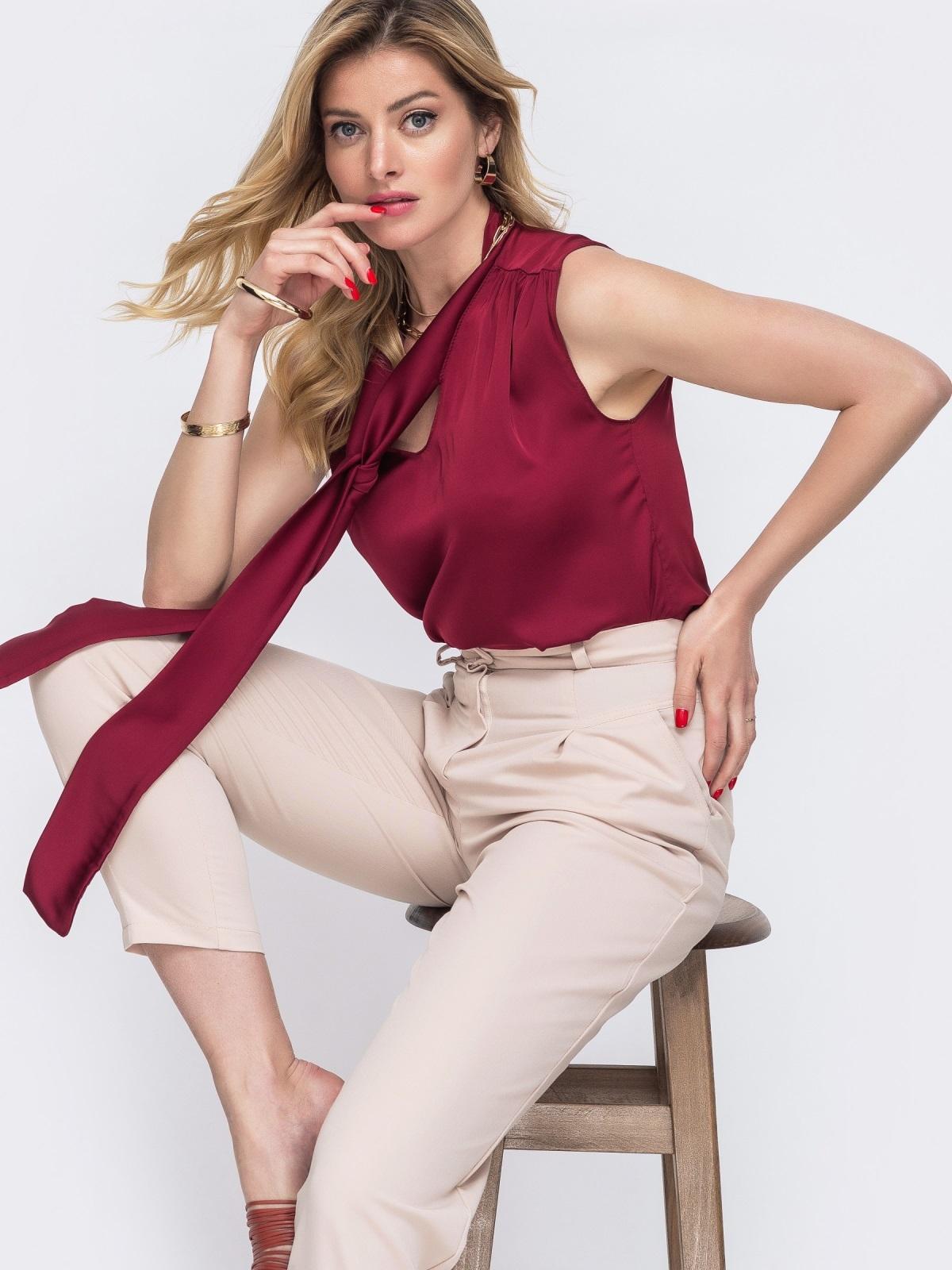 Блузка красного цвета с воротником-аскот 48425, фото 1