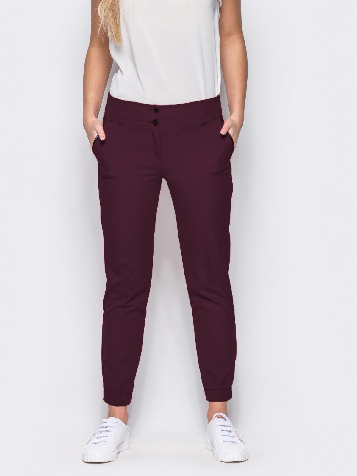 Бордовые брюки с кожаной отделкой на карманах 10325, фото 1