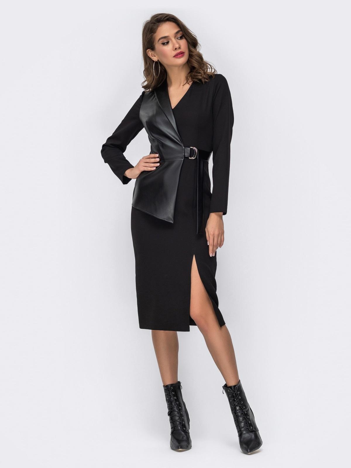 Платье-миди со вставкой из эко-кожи чёрное - 42017, фото 1 – интернет-магазин Dressa