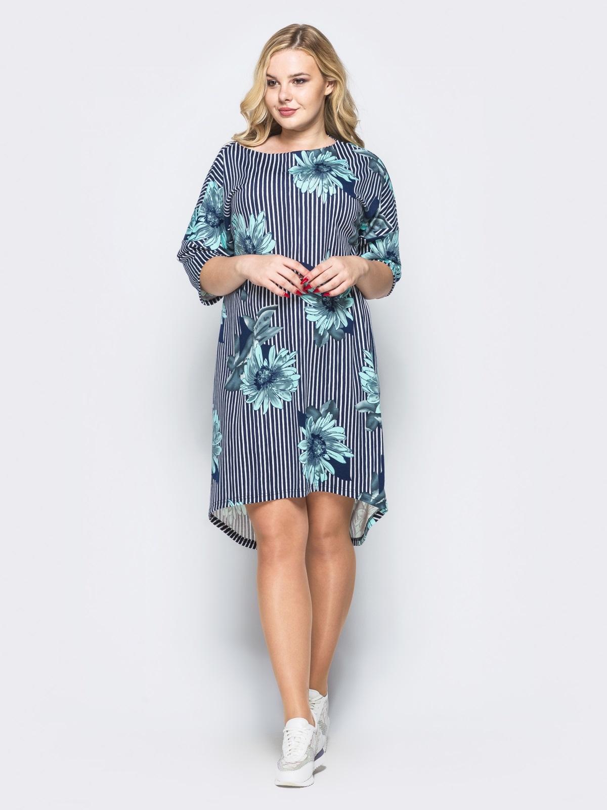Платье свободного кроя в полоску с голубыми цветами - 16666, фото 1 – интернет-магазин Dressa