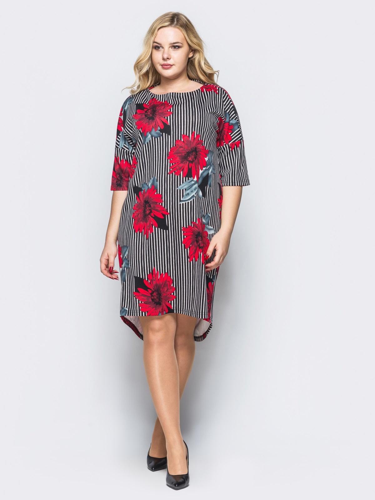 Платье свободного кроя в полоску с красными цветами 16667, фото 1